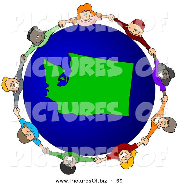 Vector Clipart of a Ring of Children Holding Hands Around a Washington Globe