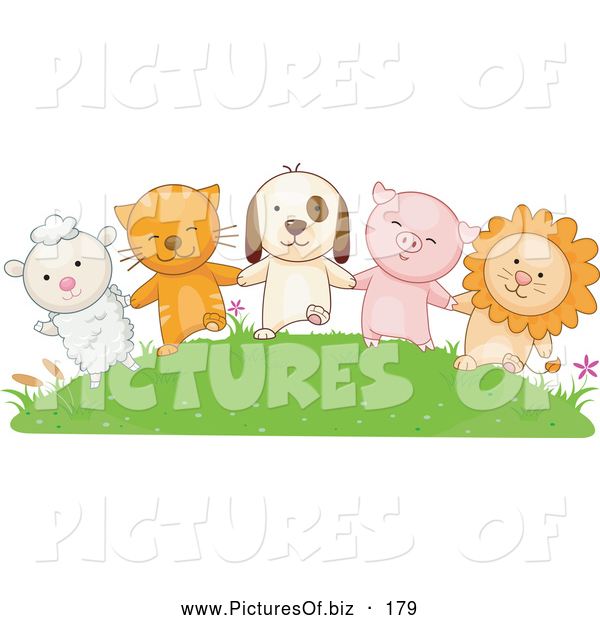 Vector Clipart of a Row of Animals: a Lamb, Cat, Dog, Pig and Lion Holding Hands on a Grassy Hill