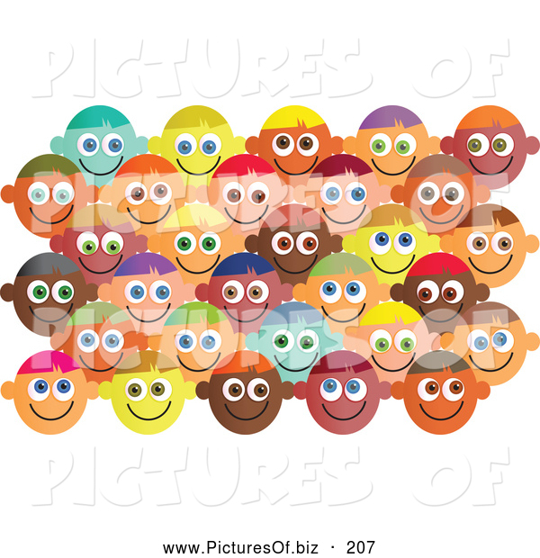 Vector Clipart of a Set of Happy Diverse Faces