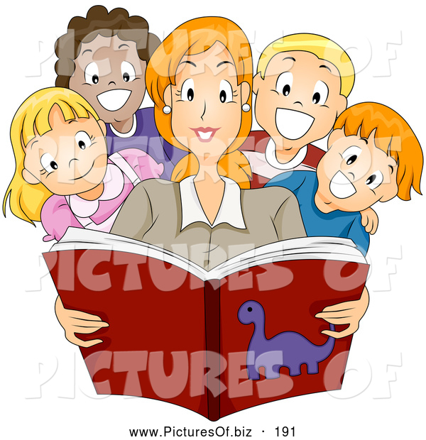 Vector Clipart of a Smiling Pretty Teacher Reading a Story Book to Diverse Children