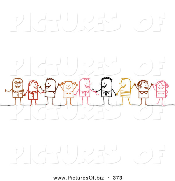Vector Clipart of a Stick Figure People Character Diverse Business Team Standing