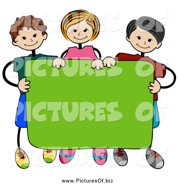 Vector Clipart of a Stick Kids Standing Behind a Blank Banner