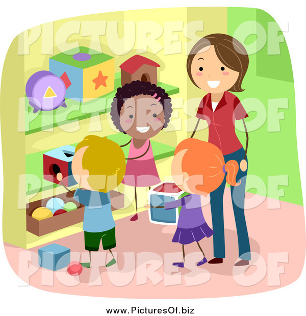 Vector Clipart of a Stick Students Picking up Toys