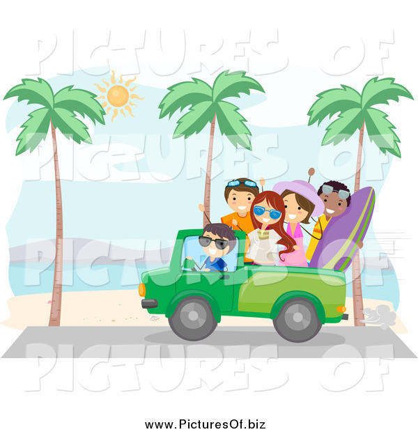 Vector Clipart of a Summer Friends Driving Along a Beach