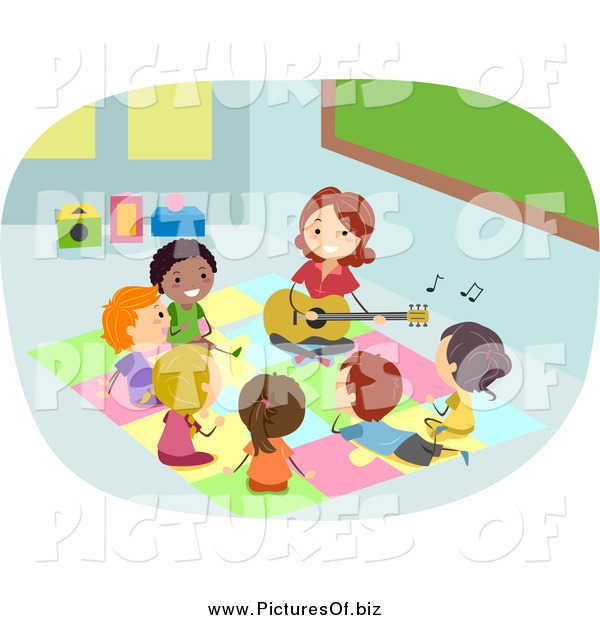Vector Clipart of a Teacher Playing a Guitar for Diverse Stick Students