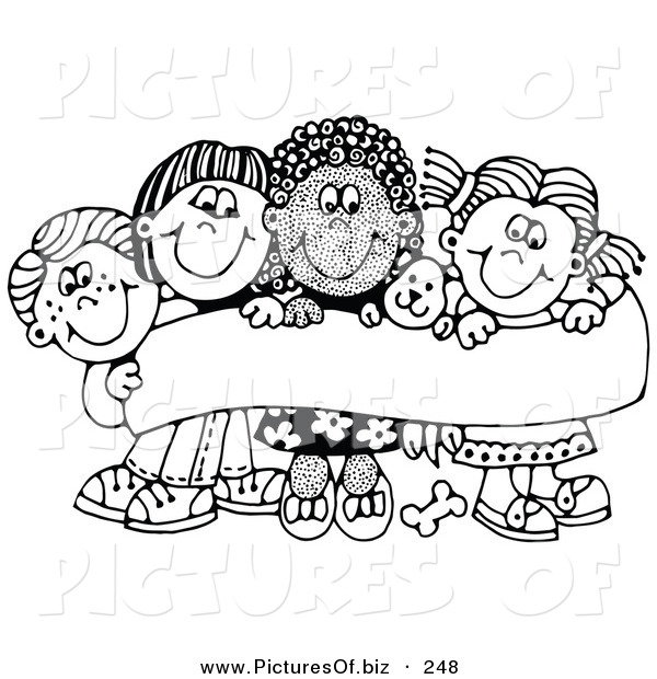Vector Clipart of a Team of Four Caucasian and African American Children Smiling and Holding up a Sign with a Puppy