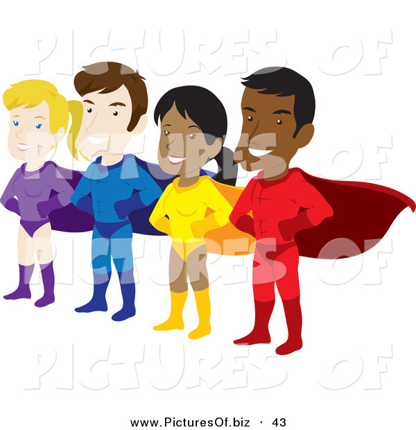 Vector Clipart of a Team of Male and Female Hispanic and Caucasian Super Heroes with Capes