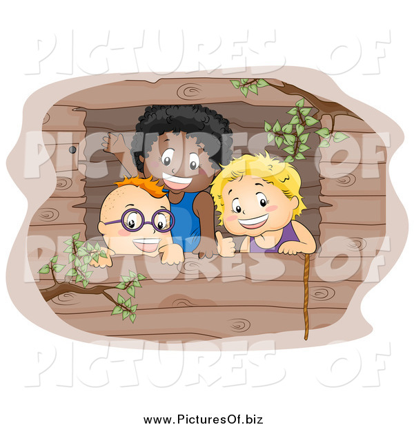 Vector Clipart of a Three Boys Waving from a Tree House Window