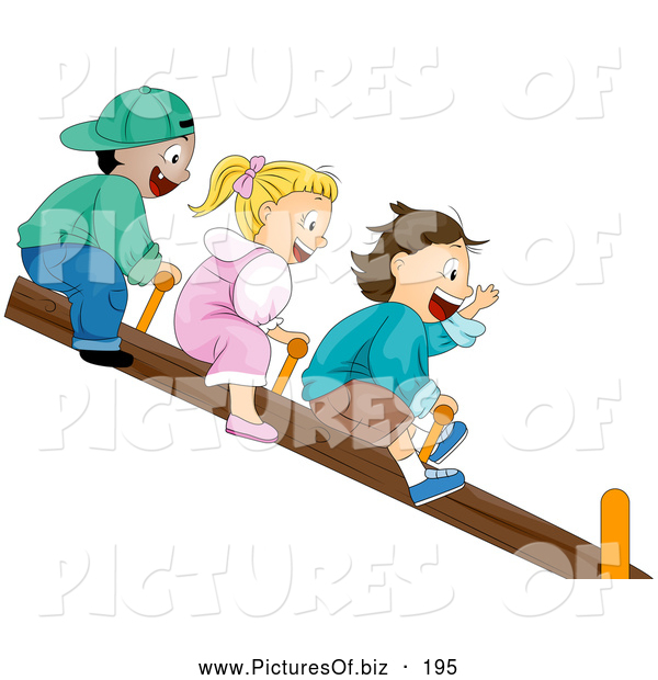 Vector Clipart of a Trio of Happy Children Riding on a See Saw