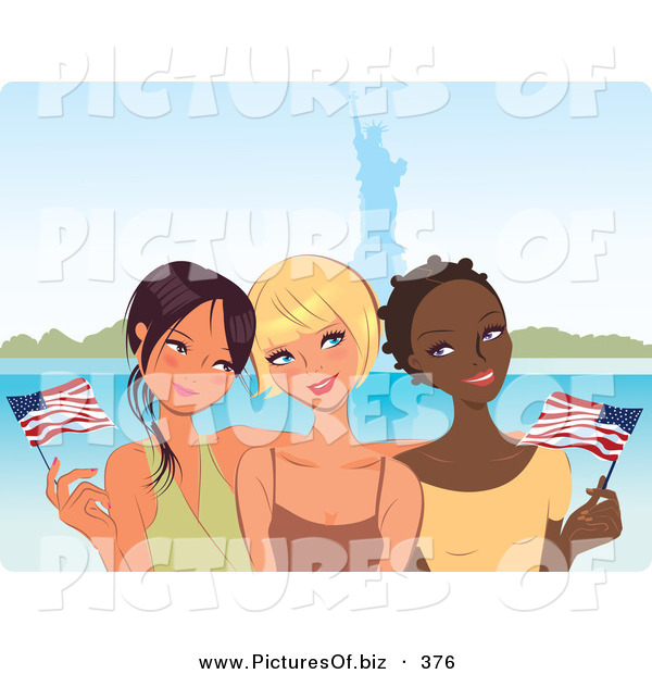 Vector Clipart of a Trio of Young Diverse Girlfriends Waving American Flags near the Statue of Liberty