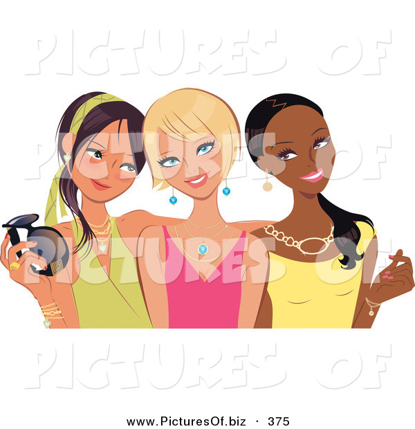 Vector Clipart of a Trio of Young Fashionable Diverse Girlfriends Posing and Smiling