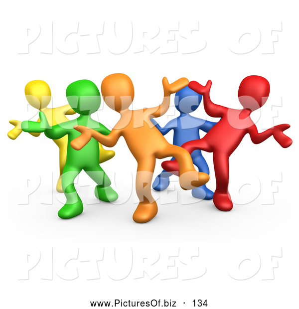 Vector Clipart of a Varied Diverse Group Dancing and Having Fun at a Party