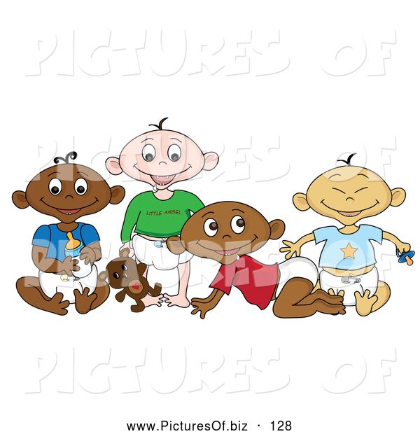 Vector Clipart of a Varied Group of Black, White, Indian and Asian Babies