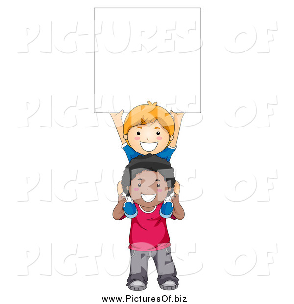 Vector Clipart of a White and Black School Boys Holding up a Blank Sign