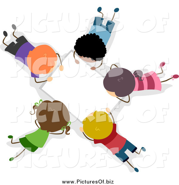 Vector Clipart of an Aerial View of Diverse Stick Students Working on a Group Project