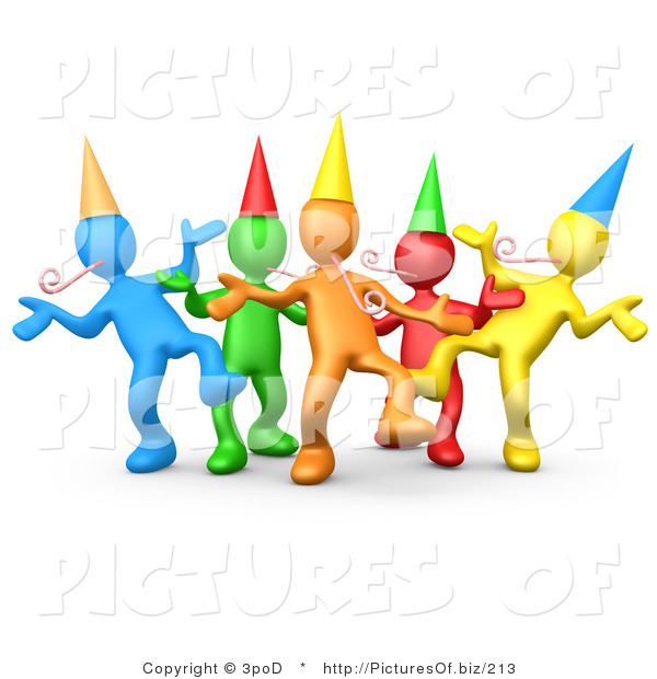 Vector Clipart of Colorful 3d Party People Dancing