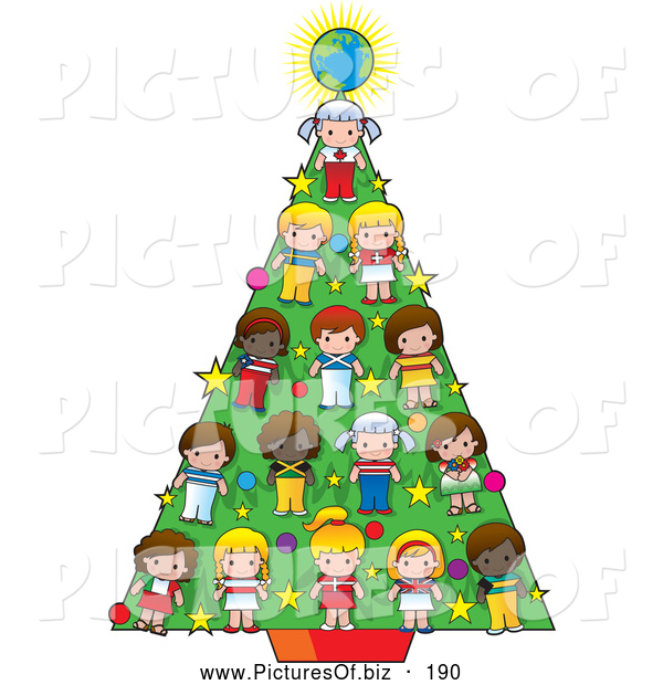 Vector Clipart of Cultural Children and a Globe Decrating a Holiday Christmas Tree