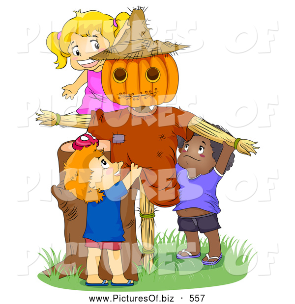 Vector Clipart of Cute Children Playing by a Scarecrow
