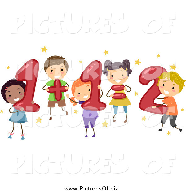 Vector Clipart of Diverse Children Doing Addition