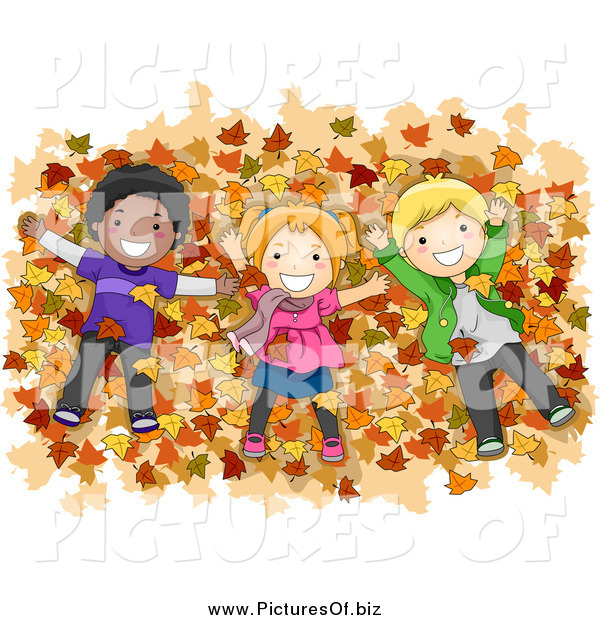 Vector Clipart of Diverse Children Laying in a Pile of Autumn Leaves