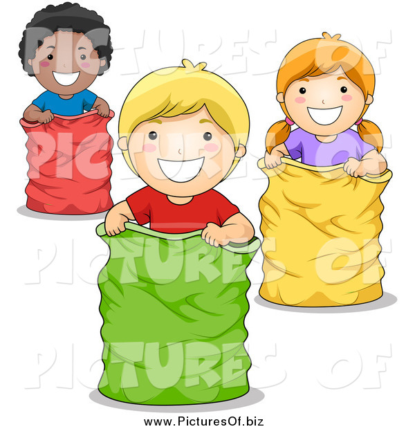 Vector Clipart of Diverse Children Playing in a Sack Race