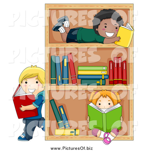 Vector Clipart of Diverse Children Reading Books by a ...