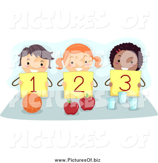 Vector Clipart of Diverse Counting Stick Children Holding up Numbers