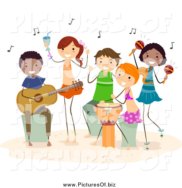 Vector Clipart of Diverse Happy Beach People Playing Music