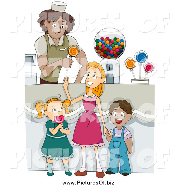 Vector Clipart of Diverse Happy Children in a Candy Shop