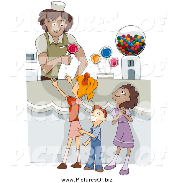 Vector Clipart of Diverse Happy Kids in a Candy Shop