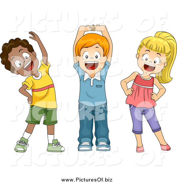 Vector Clipart of Diverse Happy School Children Stretching