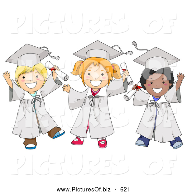 Vector Clipart of Diverse Happy School Kids in Graduation Caps and Gowns