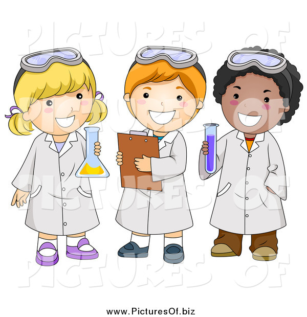 Vector Clipart of Diverse Happy School Kids in Science Class