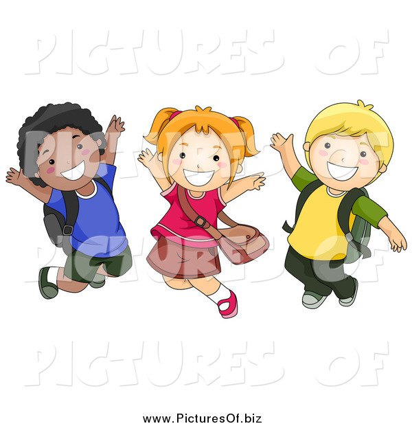 Vector Clipart of Diverse Happy School Kids Jumping