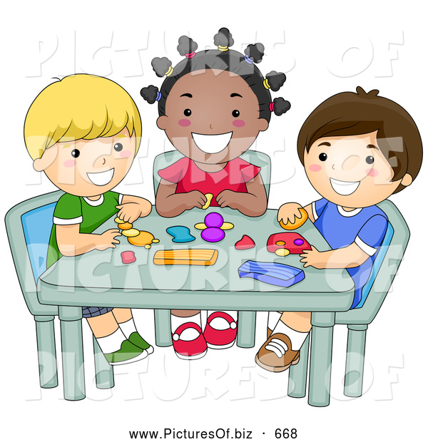 Vector Clipart of Diverse Happy School Kids Molding Clay in Art Class