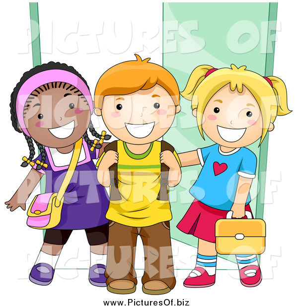 Vector Clipart of Diverse Happy School Kids Standing by a Doorway