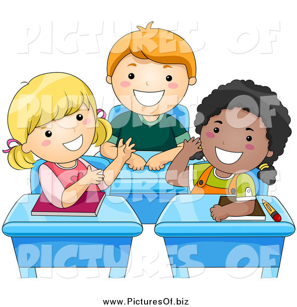 Vector Clipart of Diverse Happy School Kids Talking at Their Desks