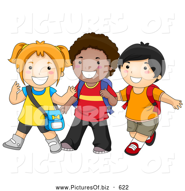 Vector Clipart of Diverse Happy School Kids Walking