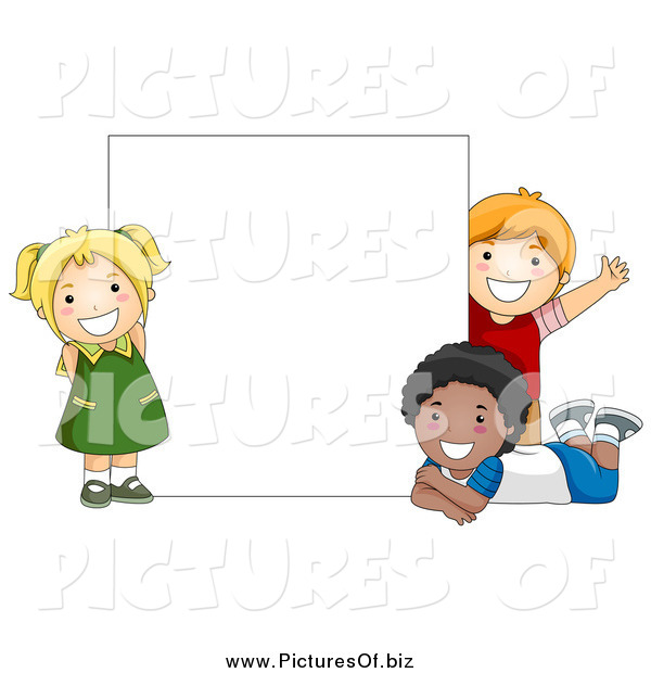 Vector Clipart of Diverse Happy School Kids with a Blank Sign
