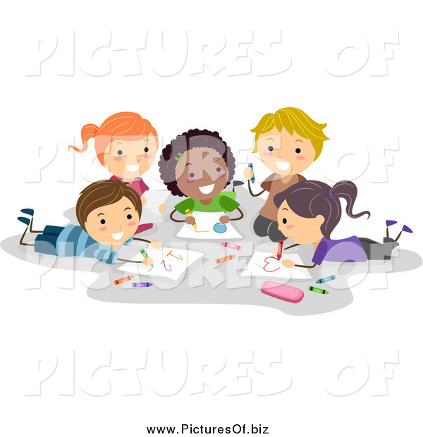 Vector Clipart of Diverse Happy Stick Students Coloring Together