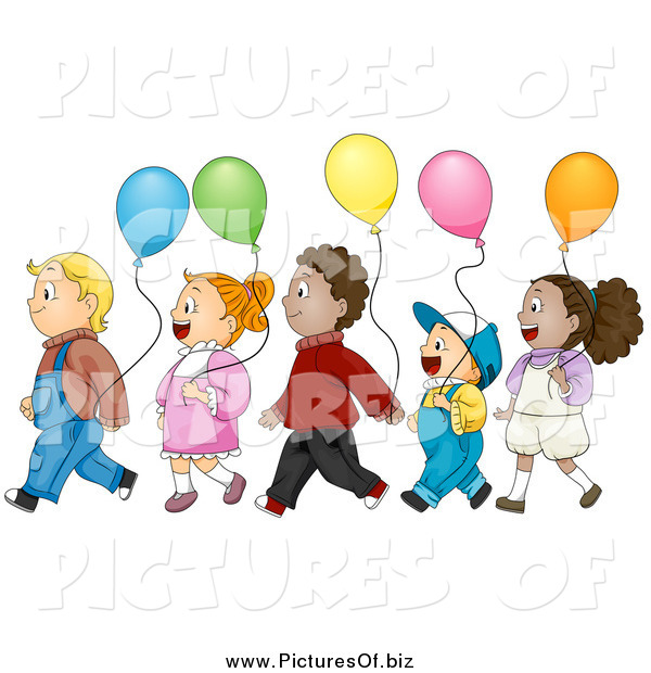 Vector Clipart of Diverse Kids with Balloons, Walking in Line