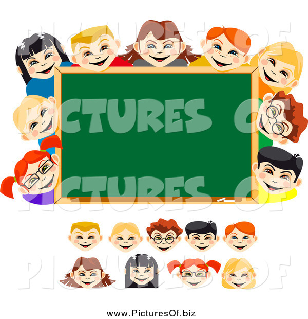 Vector Clipart of Diverse School Children and a Chalk Board
