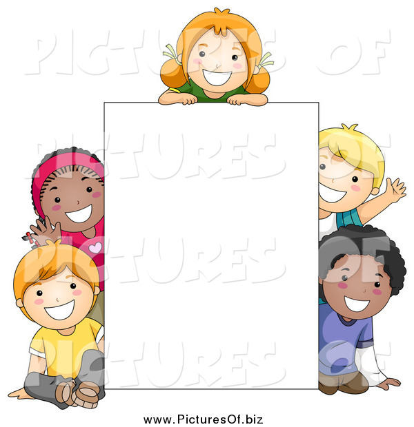 Vector Clipart of Diverse School Children Around a Blank Sign
