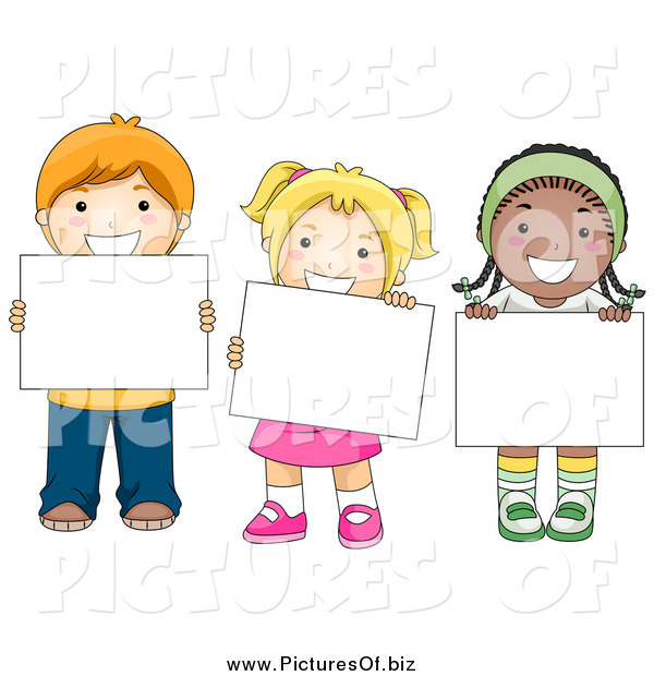 Vector Clipart of Diverse School Children Holding Blank Signs
