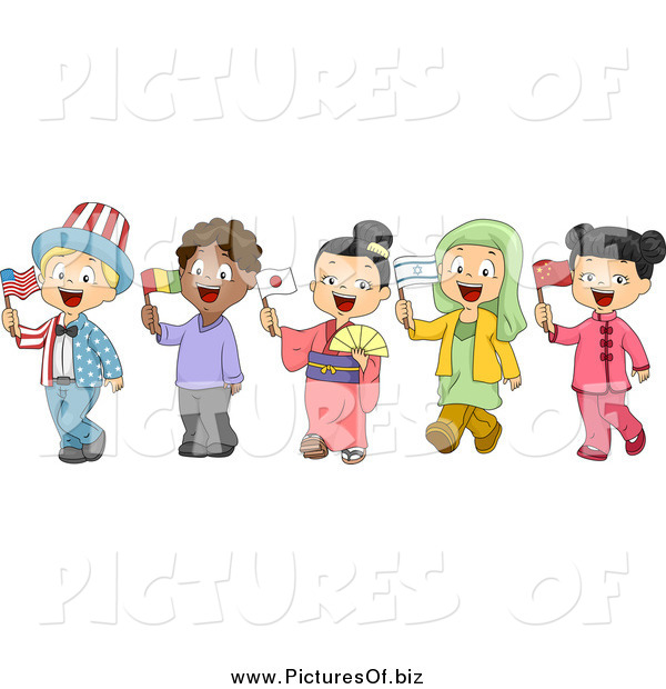 Vector Clipart of Diverse School Children Holding Flags and Dressed to Represent Different Nations