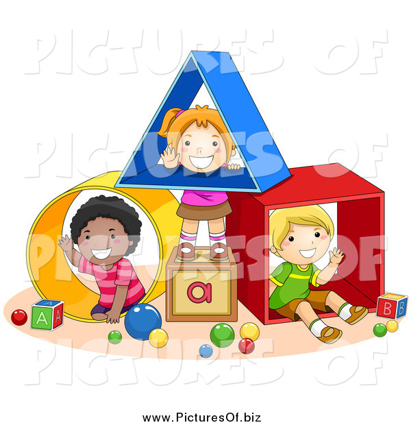 Vector Clipart of Diverse School Children Playing with Shapes
