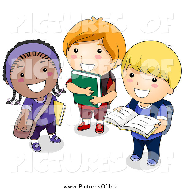 Vector Clipart of Diverse School Children Standing with Books