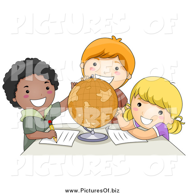 Vector Clipart of Diverse School Children Studying a Globe