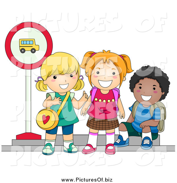 Vector Clipart of Diverse School Children Waiting at a Bus Stop
