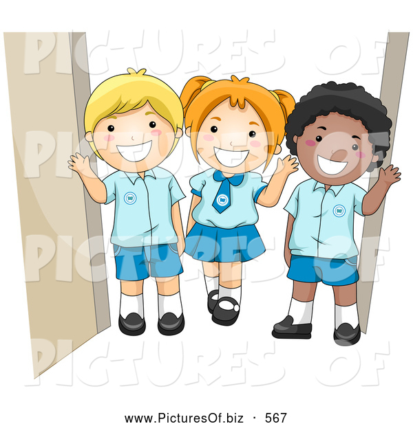 Vector Clipart of Diverse School Children Waving in Their Uniforms